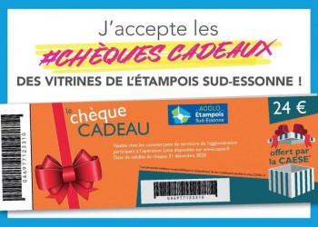 Nous acceptons les chèques-cadeaux des vitrines de l'Etampois